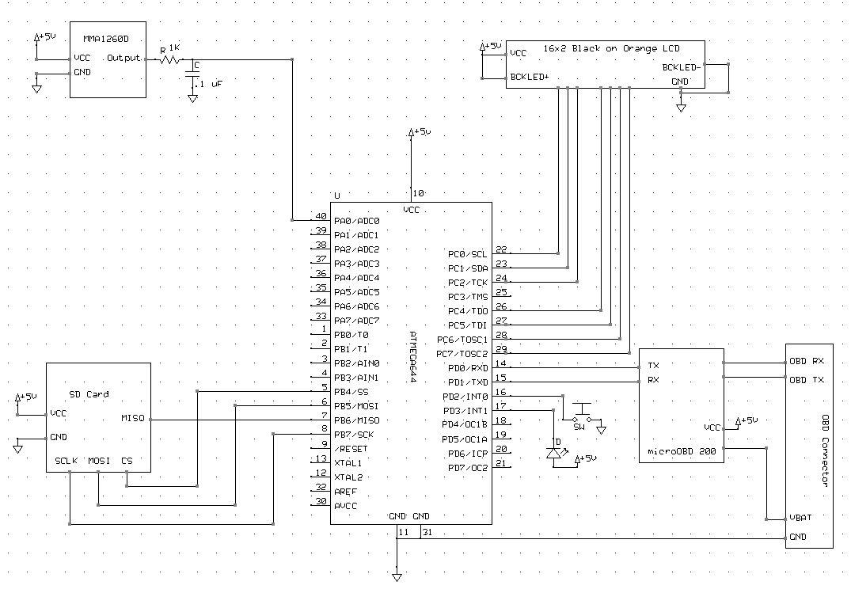 OBD-II Autocross Track Data Logger for BMW E36 M3 Using Atmega644 Schemetic