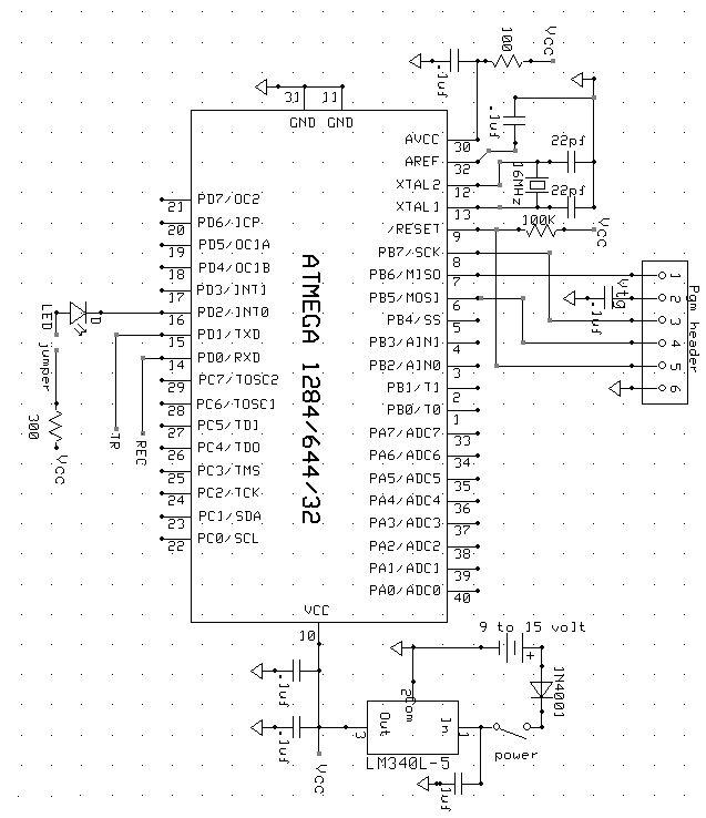 Scan-E An optical blood pressure sensor Using Atmega1284 Schemetic