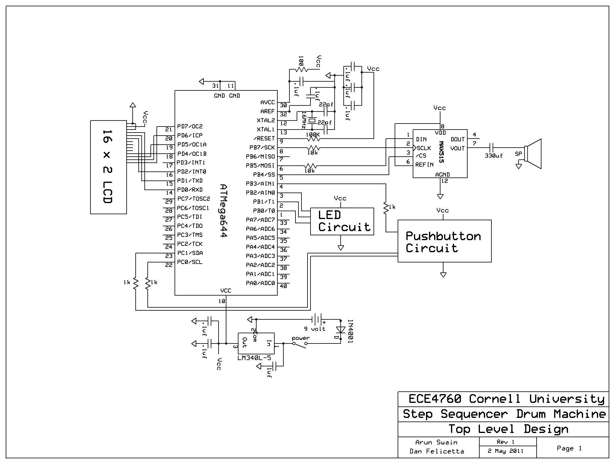 Step Sequencer Drum Machine Using Atmega644 Schemetic