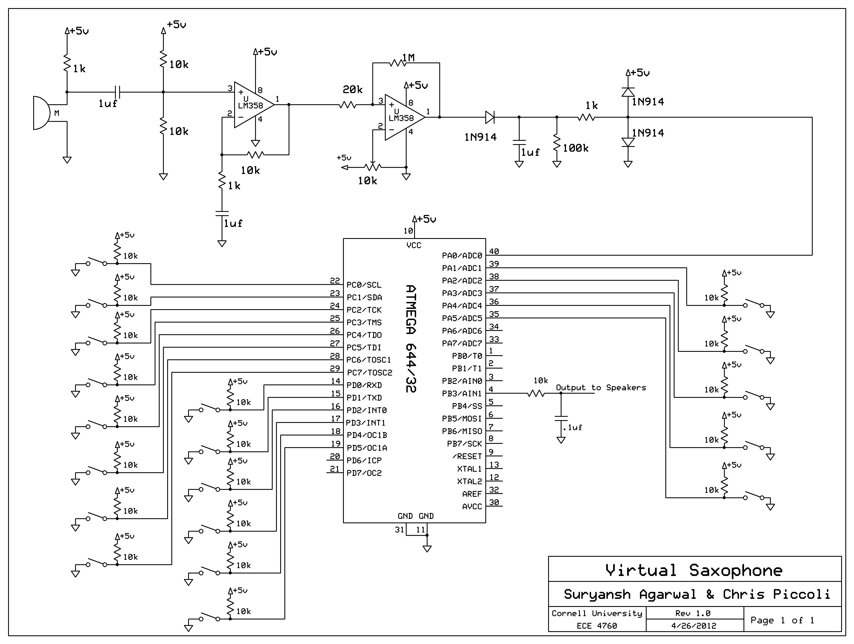 Virtual Saxophone Using Atmega644 Schemetic