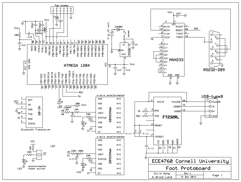 Wireless Pedometer Using Atmega1284 Schemetic