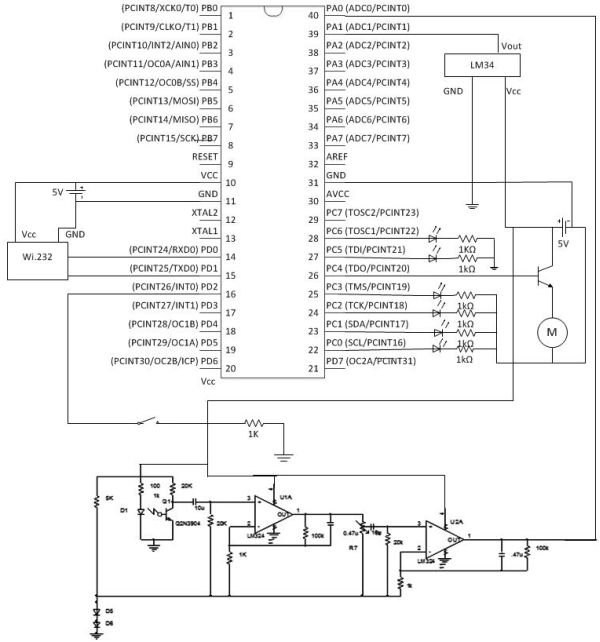 Wireless, web-based, cardiac monitor Using Atmega644 Schemetic