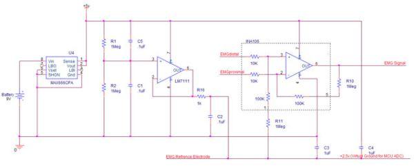 Wireless Electromyograph using ATmega32  circuit
