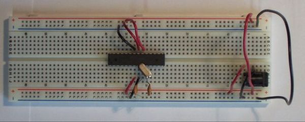 Standalone ATMega chip on breadboard