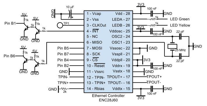 Remote Power Control Through LAN using Atmega644 Schemetic