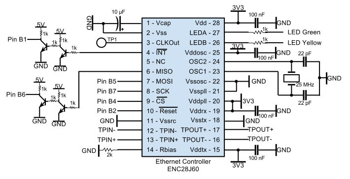 Remote Power Control Through LAN using Atmega644 Schemetic