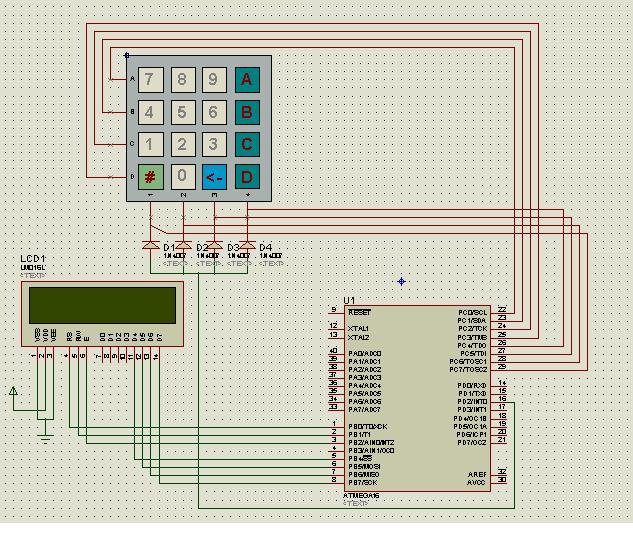Sleeping Security - Smart Keypad Lock using AtMega16 schematic