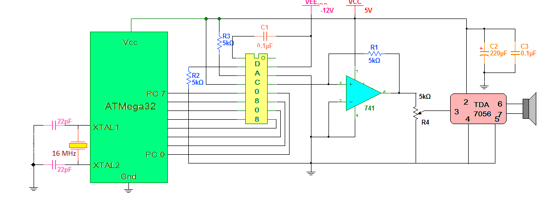 Audio Tone Generator using AVR Microcontroller schematic