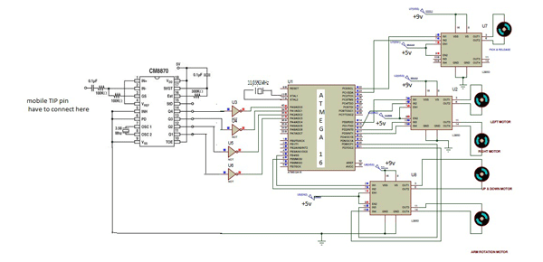 Cell Phone Controlled Pick and Place Robot schematic