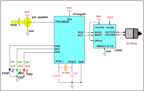 DC Motor Control with Joystick & AVR Microcontroller schematic