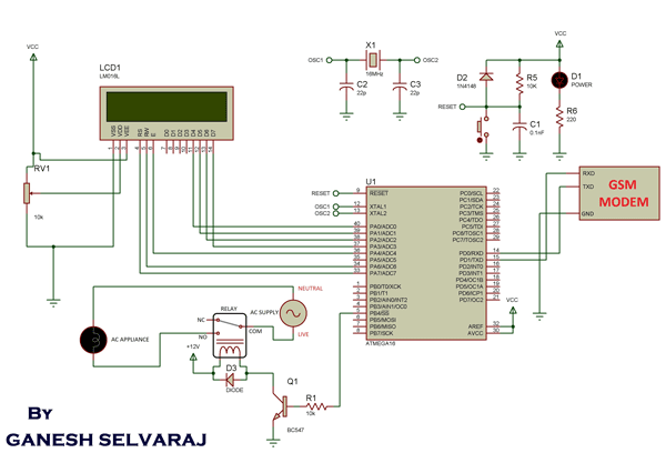 GSM Based AC Appliance Control schematic