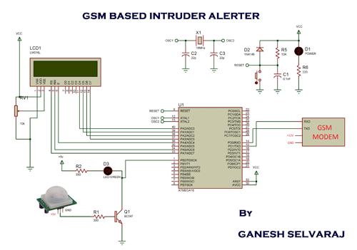 GSM Based Intruder Alerting System schematic