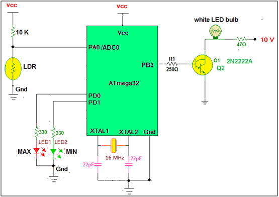 Intelligent LED light controller using AVR schematic