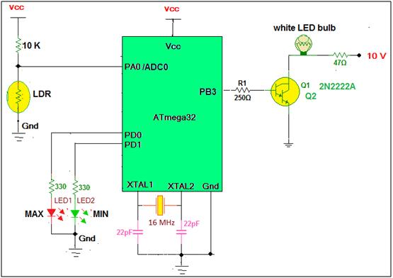 Intelligent LED light controller using AVR schematic