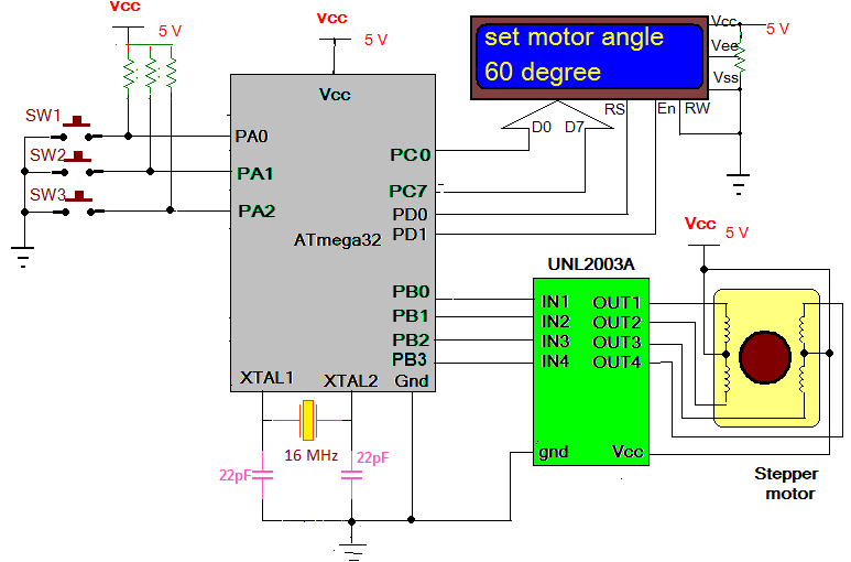 Stepper Motor Angle Control using AVR Microcontroller schematic