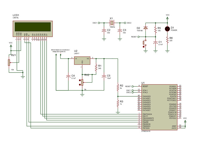 Variable Power Supply with LCD schematic