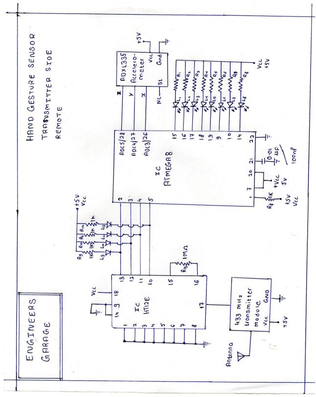 Accelerometer Based Hand Gesture Controlled Robot schematic