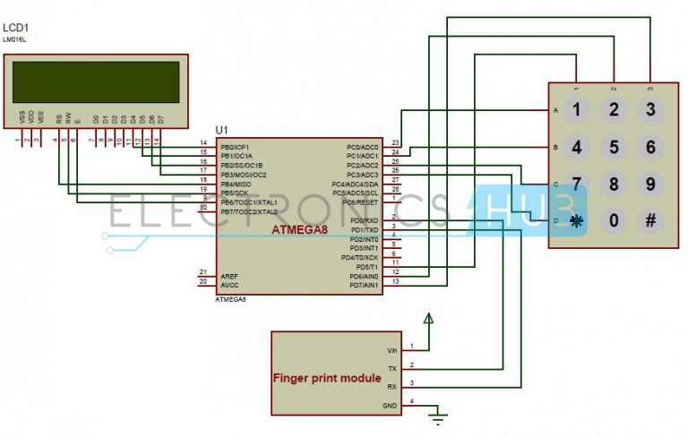 Biometric Attendance System Circuit