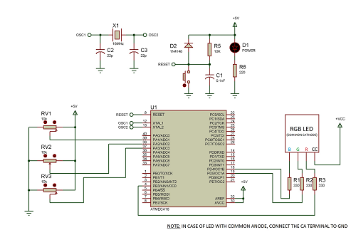 Controlling RGB LED colour using Atmega16 schematic