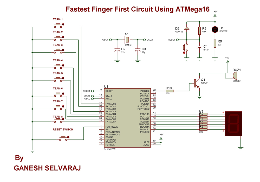 Fastest Finger First Circuit using ATMega16 schematic