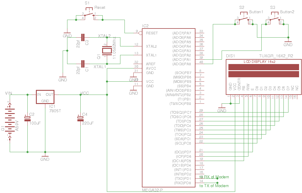How to Interface a GSM (SIM 300) Modem with ATmega32 to Send and Receive SMS schematic