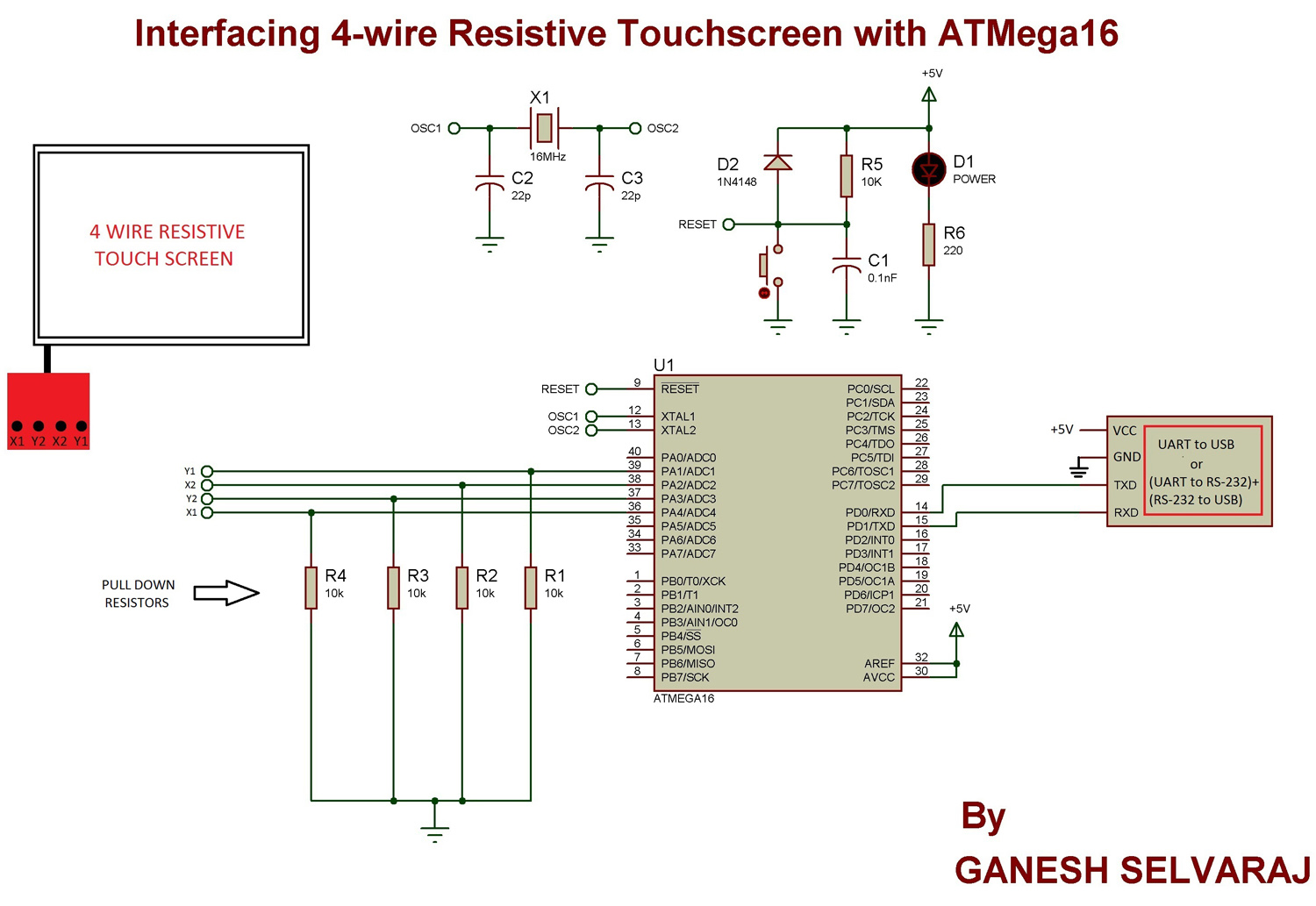 Interfacing 4-wire Resistive Touchscreen with ATMega16 Microcontroller schematic