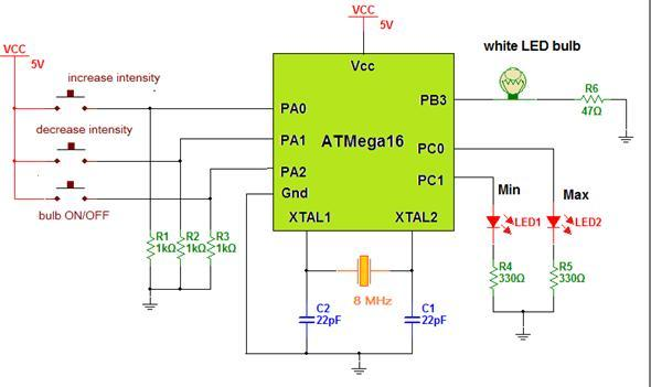 LED Light Bulb Controller using AVR Microcontroller schematic