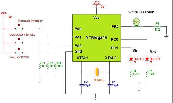 LED Light Bulb Controller using AVR Microcontroller schematic