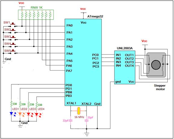 Speed and Direction Control of Stepper Motor using AVR Microcontroller schematic