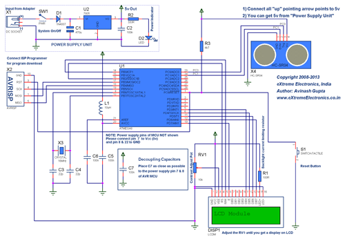 Ultrasonic Rangefinder HC-SR04 Interfacing with ATmega8