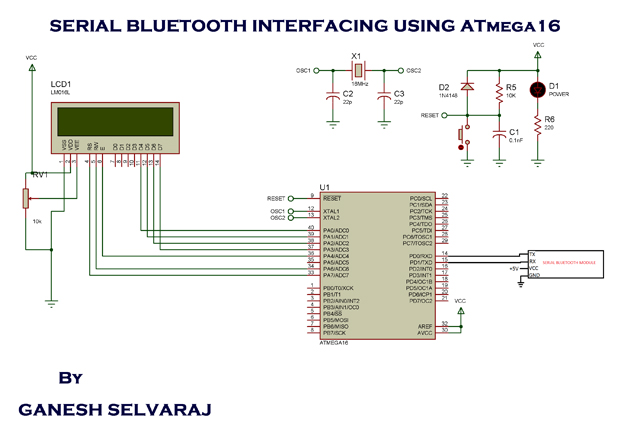 Interfacing Serial Bluetooth Modem with Computer using ATmega16 schematic