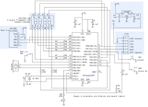 Alarm clock Using Atmega-328 and RTC schematic