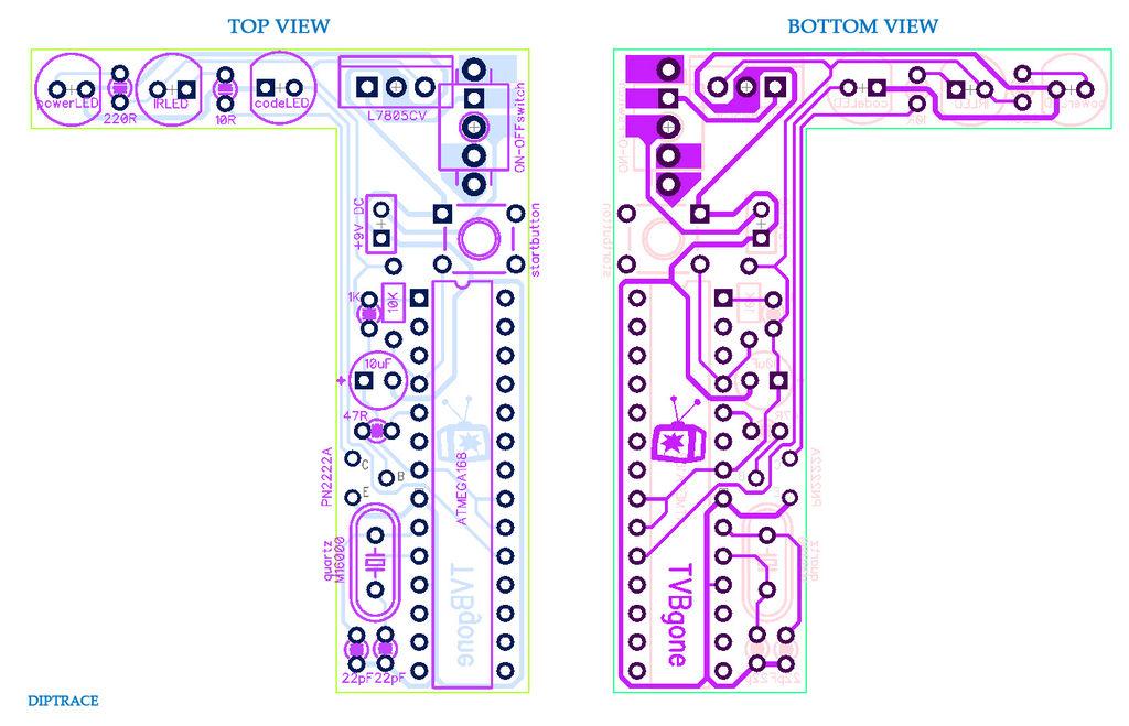 Atmega168 TV-B-Gone circuit bord