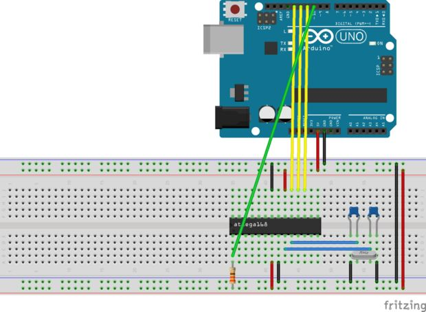 Connecting the ATmega to the Arduino