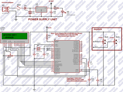 Interfacing Analog Joystick with AVR ATmega32 Schematic