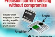 Current-sense amp integrates precision shunt resistor, in single package
