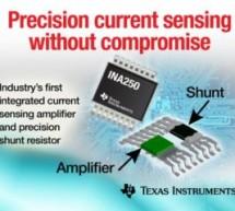 Current-sense amp integrates precision shunt resistor, in single package