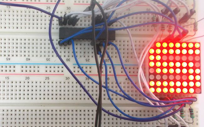 8x8 LED Matrix Interfacing with AVR Microcontroller