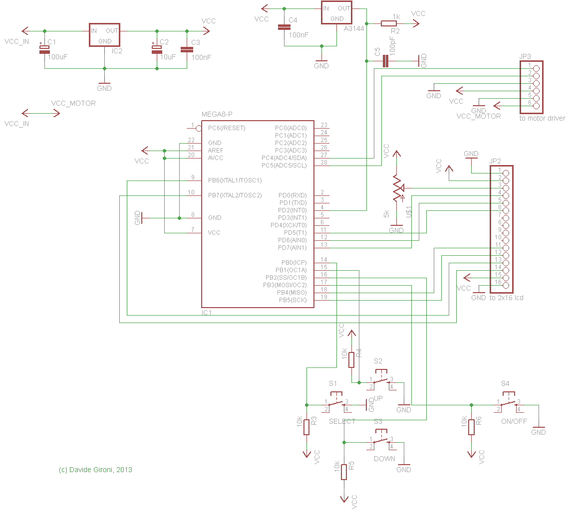 Schematic A Pickup Winding machine built on an ATmega8