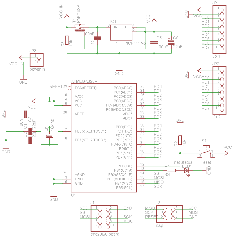 Schematic A web configurable Xively logger, build on AVR ATmega328