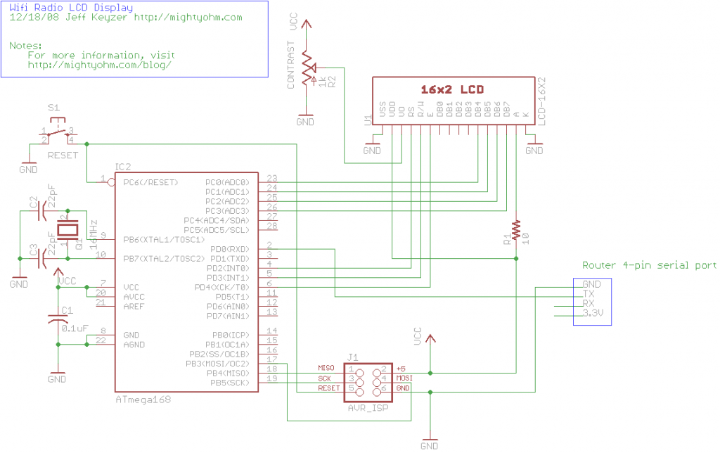 Schematic Building a Wifi Radio – Part 7, Building an LCD Display