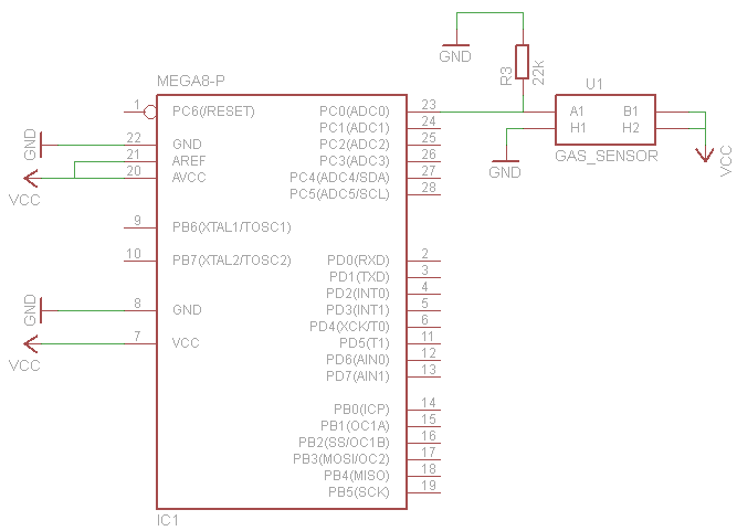 Schematic Cheap CO2 meter using the MQ135 sensor with AVR ATmega