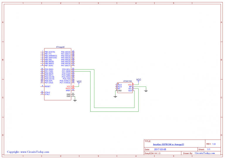 Schematic How to Interface an External EEPROM with AVR Atmega32