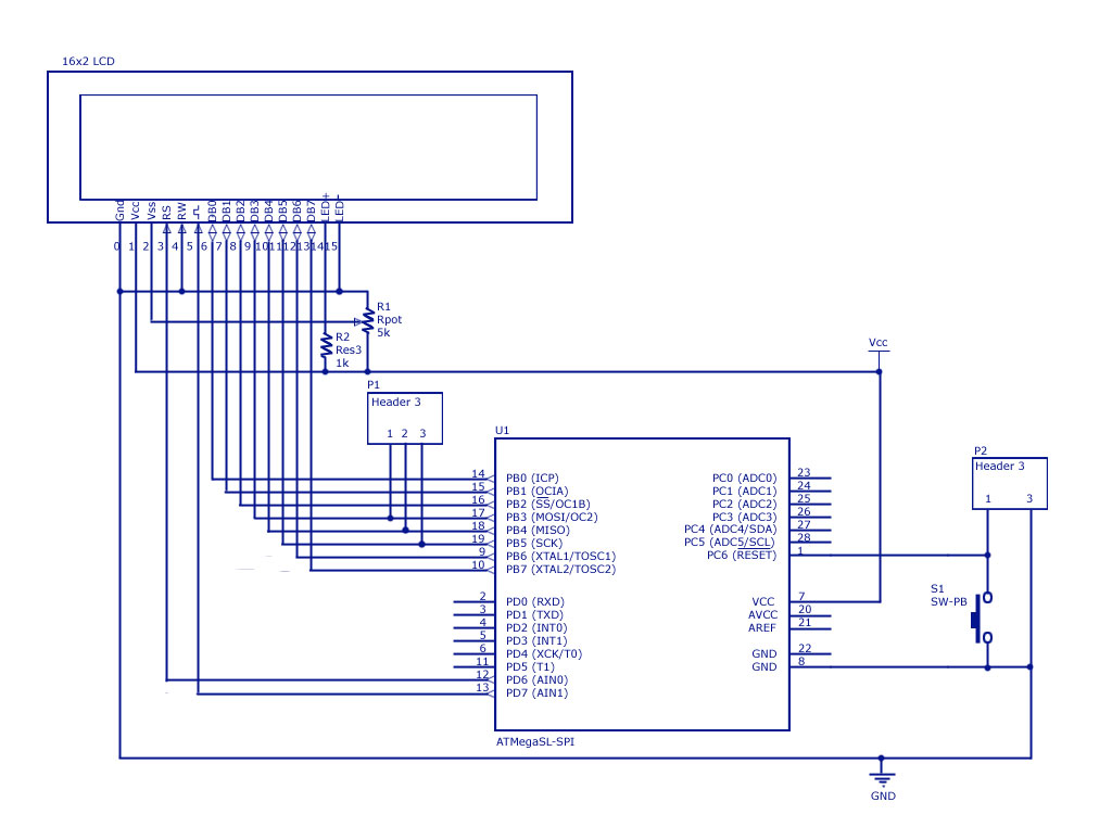 Schematic LCD Interfacing with AVR