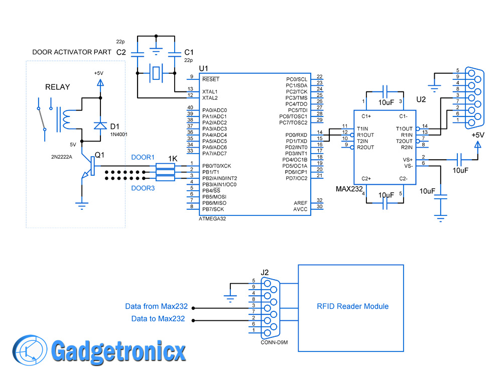 Schematic RFID based security system using AVR ATmega32 microcontroller