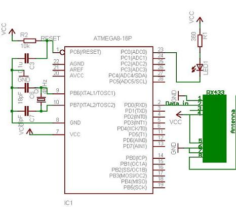 Schematic Receiver Schematic Trasmitter Running TX433 and RX433 RF modules with AVR microcontrollers