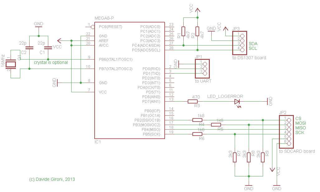 Schematic SD card logger library with log rotation that fits on ATmega8