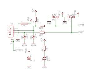 Schematic USB AVR programmer
