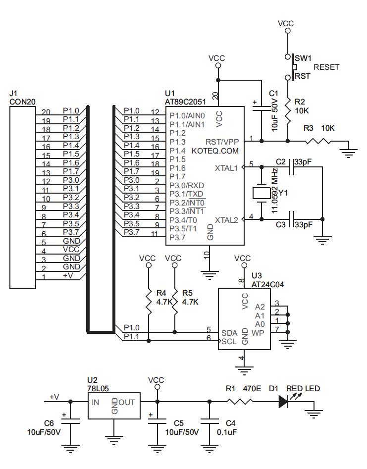 schematic AT89C2051 Development Stick