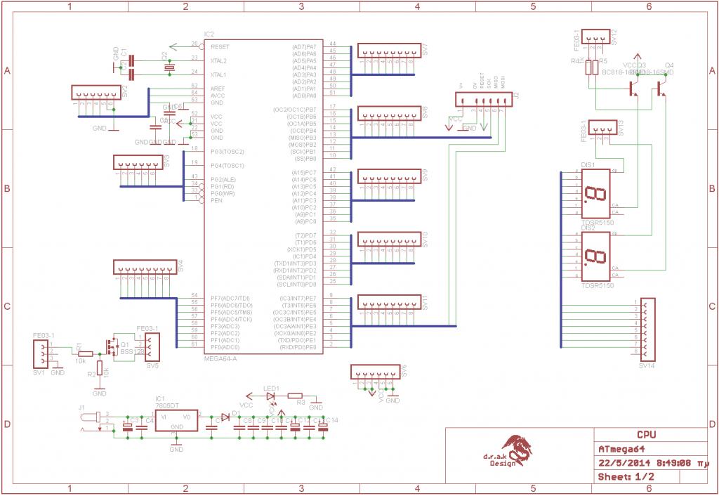 schematic ATmega64 Development Board